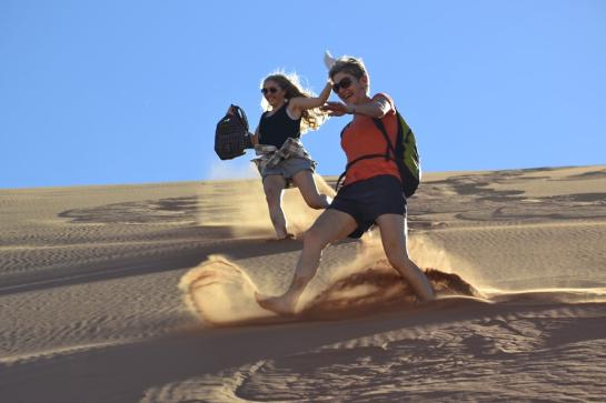 Beth and Hannah on Sand Dunes in Namibia
